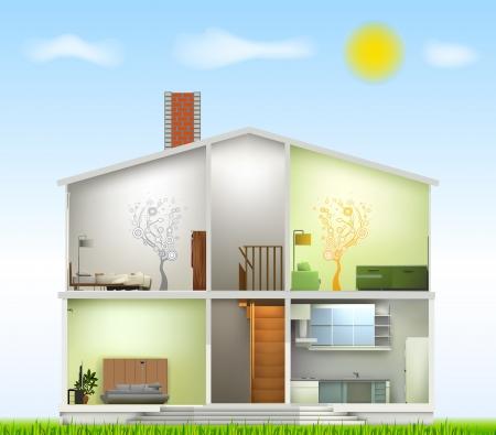 modern huis: Snijd in huis interieurs Vector