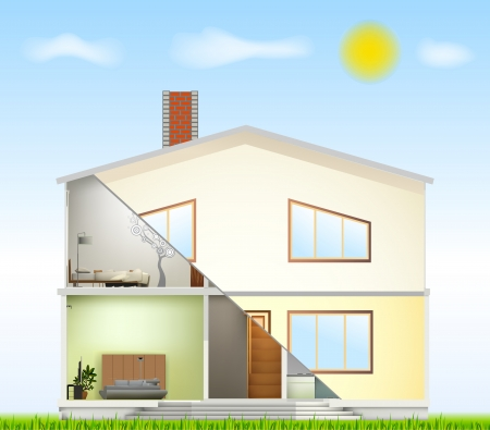 Cut in house interiors and part facade Vector
