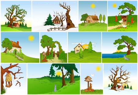 bunny xmas: Set of natural backgrounds   Illustration