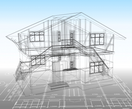 modern house sketch: House technical draw