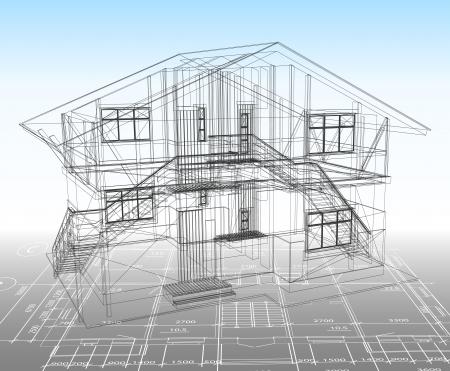 plan maison: Maison technique tirage Illustration