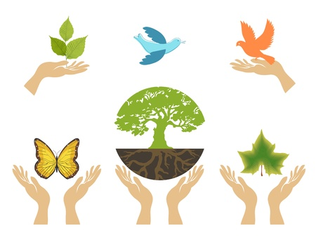 Nature Icons with hands set Vector