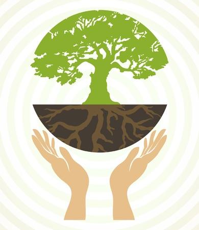 mani terra: Icone di albero con le mani Vettoriali