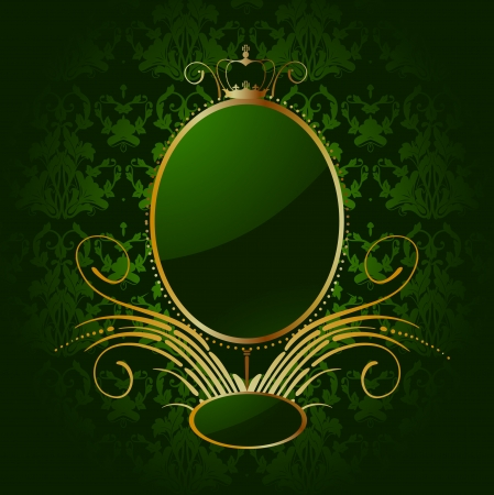 Royal green background with golden frame Stock Vector - 14714195
