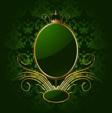 green carpet: Royal green background with golden frame Illustration