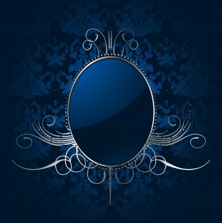 silver circle: Reale sfondo blu con cornice d'argento