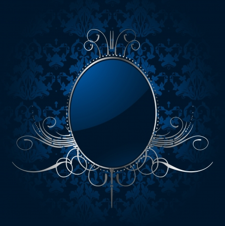 silver ribbon: Royal blue background with silver frame Illustration