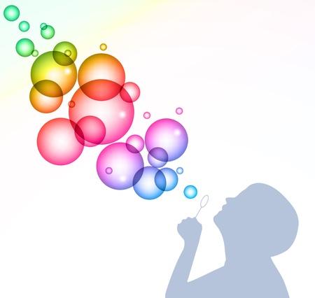 bulles: Enfant soufflant des bulles de fond Illustration