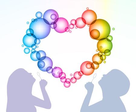 inflar: El hombre y la mujer inflar burbujas en forma de coraz�n