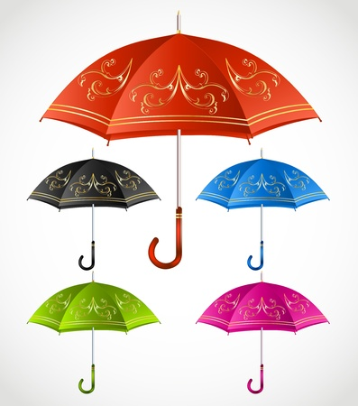 Umbrellas ornamental set  Vector