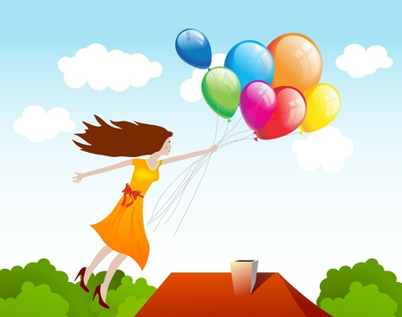 Girl flying with balloons  background Vector