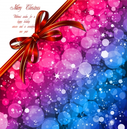 Magic Lights background with red bow  Vector illustration Stock Vector - 14846965