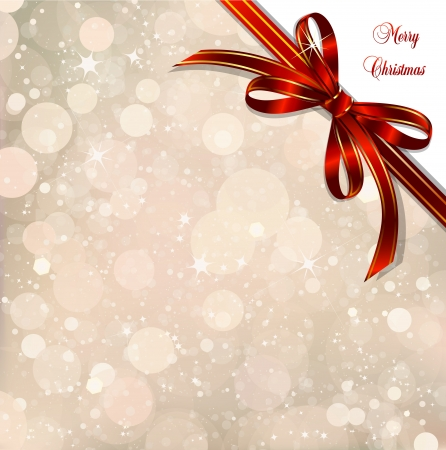 Red bow on a magical Christmas over  Vector illustration Vector