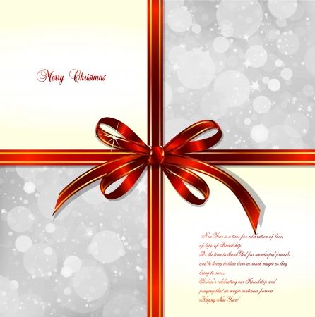 Red bow on a magical Christmas background  Vector illustration