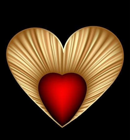 Valentine day card with gold heart  Vector Stock Vector - 14882750