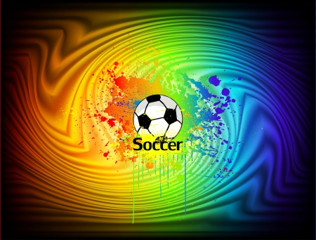 Abstract ink background with soccer ball  Vector illustration