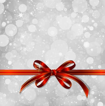 Red bow on a magical Christmas background  Vector Vector