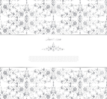 Floral silver background  Vector Vector