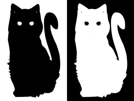White and black cats  Vector background Stock Vector - 14882774