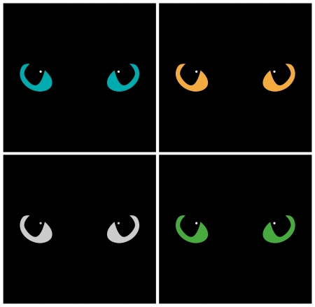 Wild cat eyes on black background  Vector set Vector