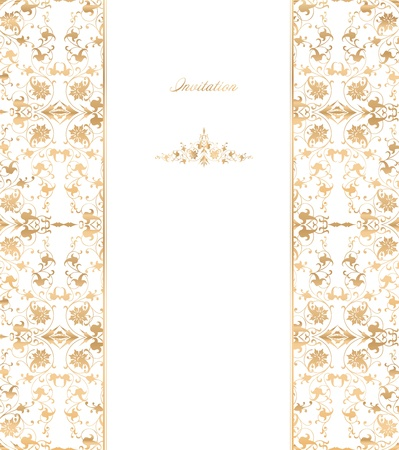 Gold floral on white background  Vector Vector