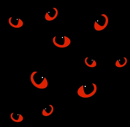glowing skin: Red cat eyes in darkness  Vector background Illustration