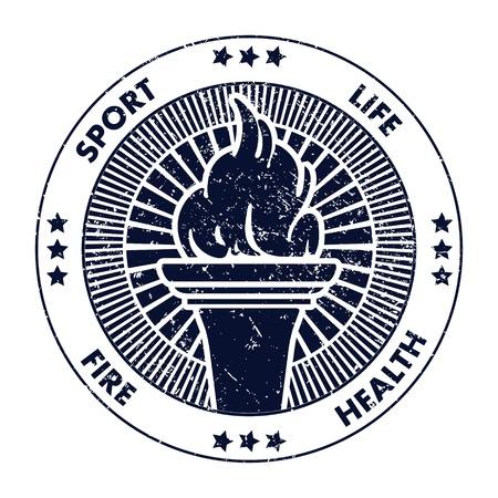 torch: Grunge stamp fire torch  Vector illustration