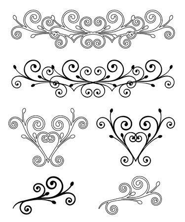 black and white line drawing: Set Elegance Elements  Vector illustration