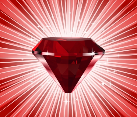 valueables: Red diamond  Vector shine background