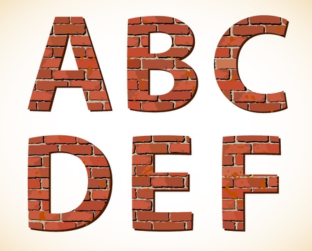 bricklayer: Set brick alphabet  Vector illustration