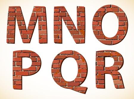 alphabetic: Set brick alphabet  Vector illustration
