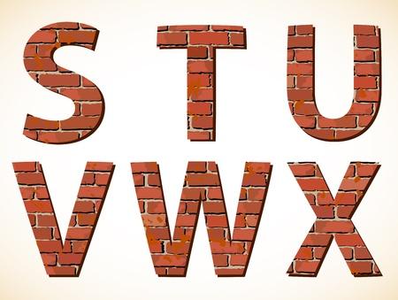 Set brick alphabet  Vector illustration Stock Vector - 15215380