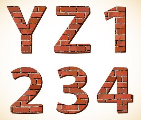 Impostare mattoni cifre vettore e alfabeto