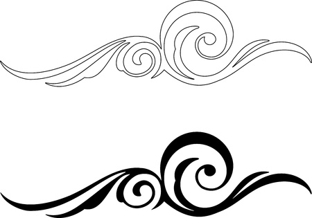 black and white line drawing: Two Elegance Elements  Vector