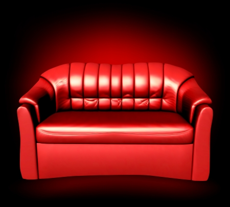 comfy: Red leather sofa