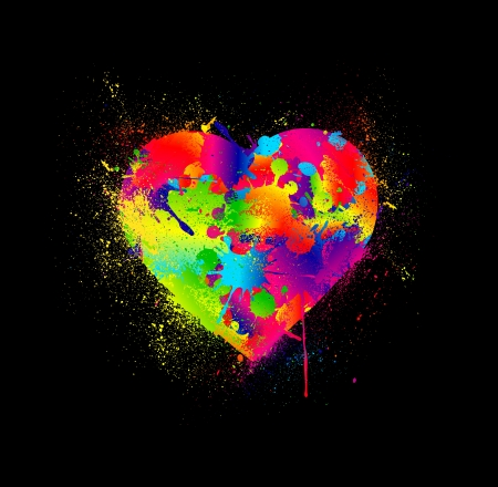 love cartoon: Paint splatter heart  Vector illustration