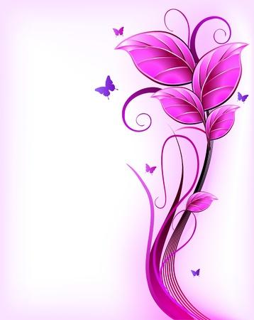 farfalla nera: Floreale vettore sfondo rosa