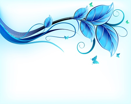 spring water: Blue floral background  Vector