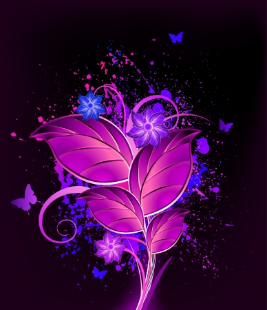 Ink floral violet background  Vector Stock Vector - 15056834