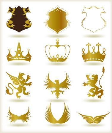 aigle royal: Collection d'or h�raldique Vector �l�ments