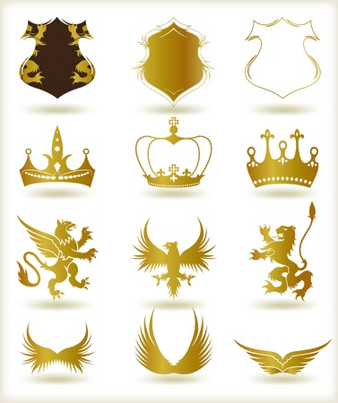 eagle badge: Collection heraldic gold elements  Vector