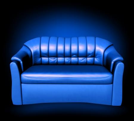 blue leather sofa: Pelle blu Vector divano