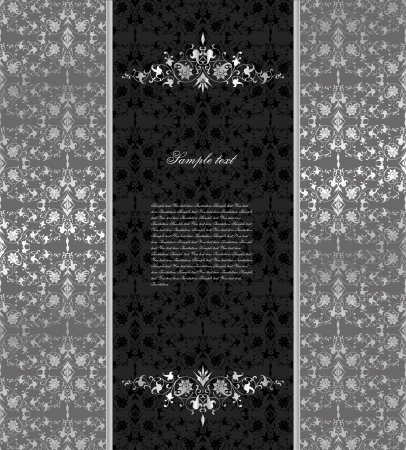 black silk: Floral seamless silver background  Vector Illustration