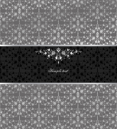 Floral seamless silver background  Vector Çizim