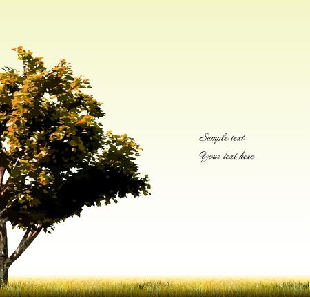 albero stilizzato: Carta autunno con albero stilizzato vettore Vettoriali