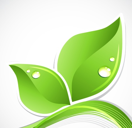 Green leaf with water droplets  art illustration