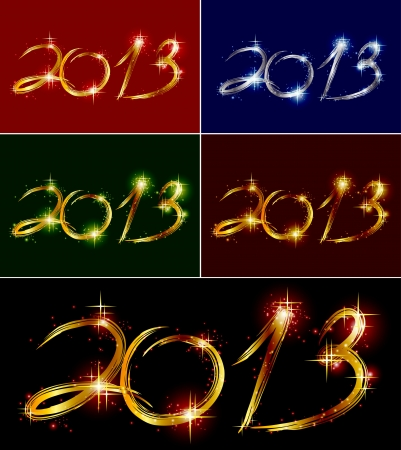 Set christmas card with glow colorful 2013 Stock Vector - 15166366