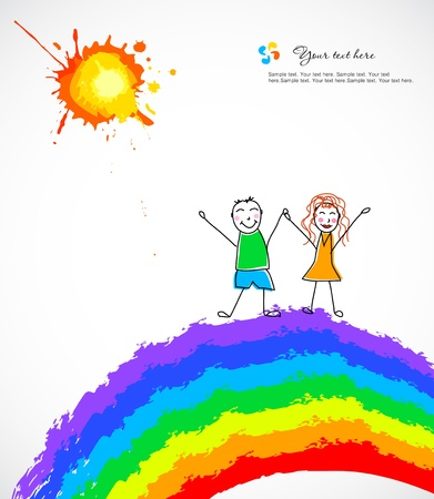 Colorful background with happy child on rainbow  Vector