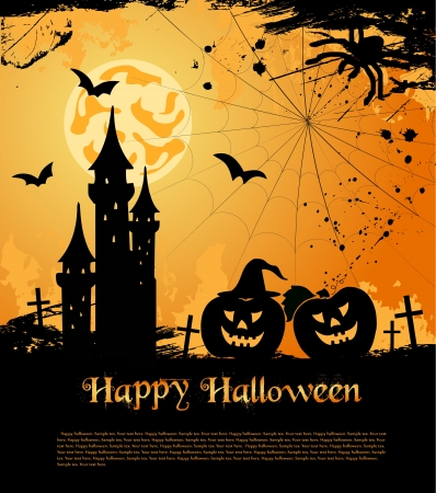 Halloween card with castle, bats and pumpkin Stock Vector - 15497903
