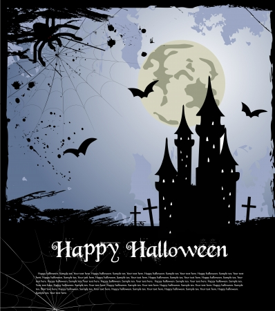 Halloween card with castle, bats and pumpkin Vector
